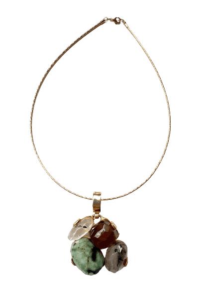 Foto 1 - Aro Caminho Das Pedras -Quartzo Fumê, Esmeralda, Quartzo Turmalinado - Dourado