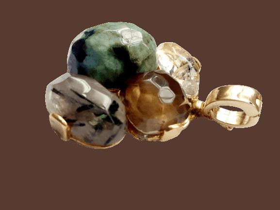 Foto3 - Aro Caminho Das Pedras -Quartzo Fumê, Esmeralda, Quartzo Turmalinado - Dourado
