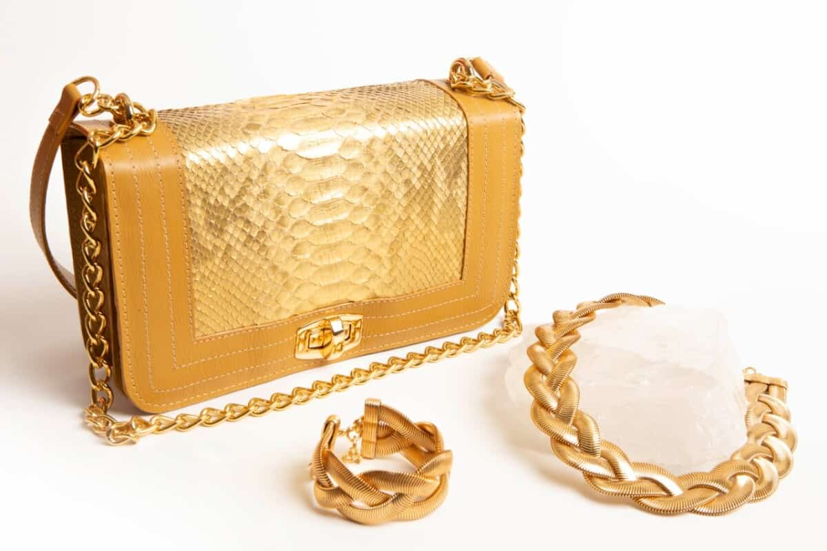 Foto2 - Bolsa Bolonia Phyton - Dourada
