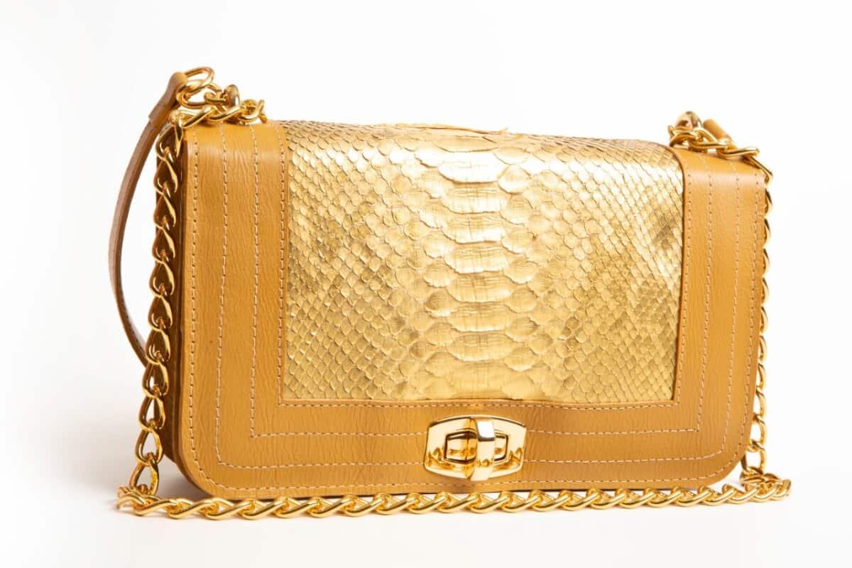 Foto3 - Bolsa Bolonia Phyton - Dourada