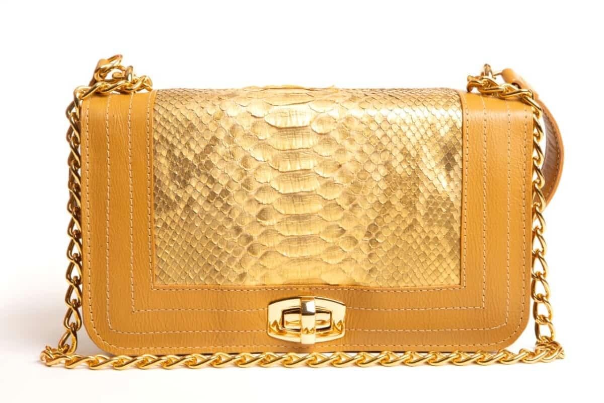 Foto 1 - Bolsa Bolonia Phyton - Dourada