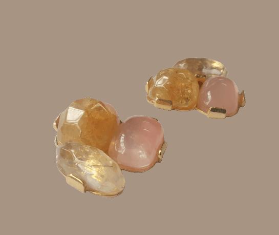 Foto2 - Brinco Caminho Das Pedras - Citrino-Cristal E Quartzo Rosa - Dourado