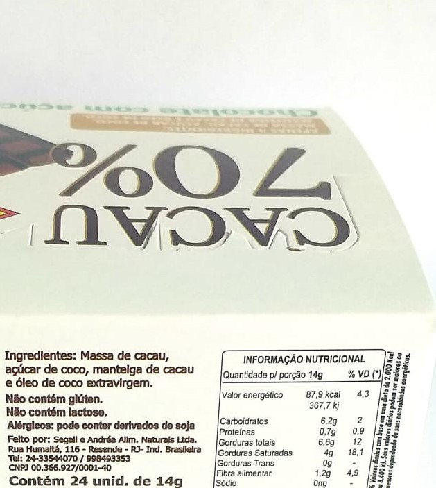 Foto2 - Chocolate 70% com açúcar de coco