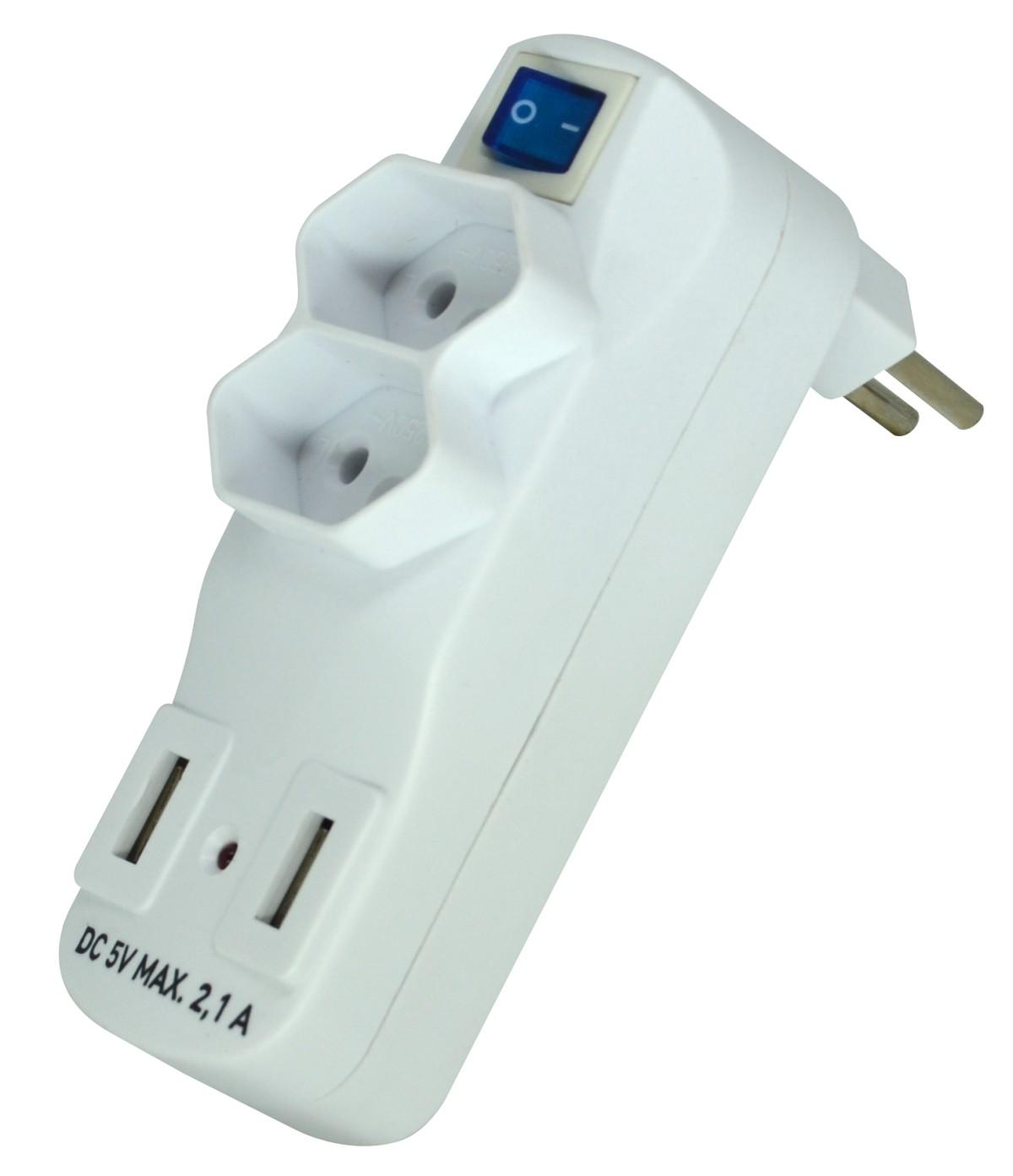 Foto 1 - Adaptador Múltiplo 2 Tomadas + 2 USB