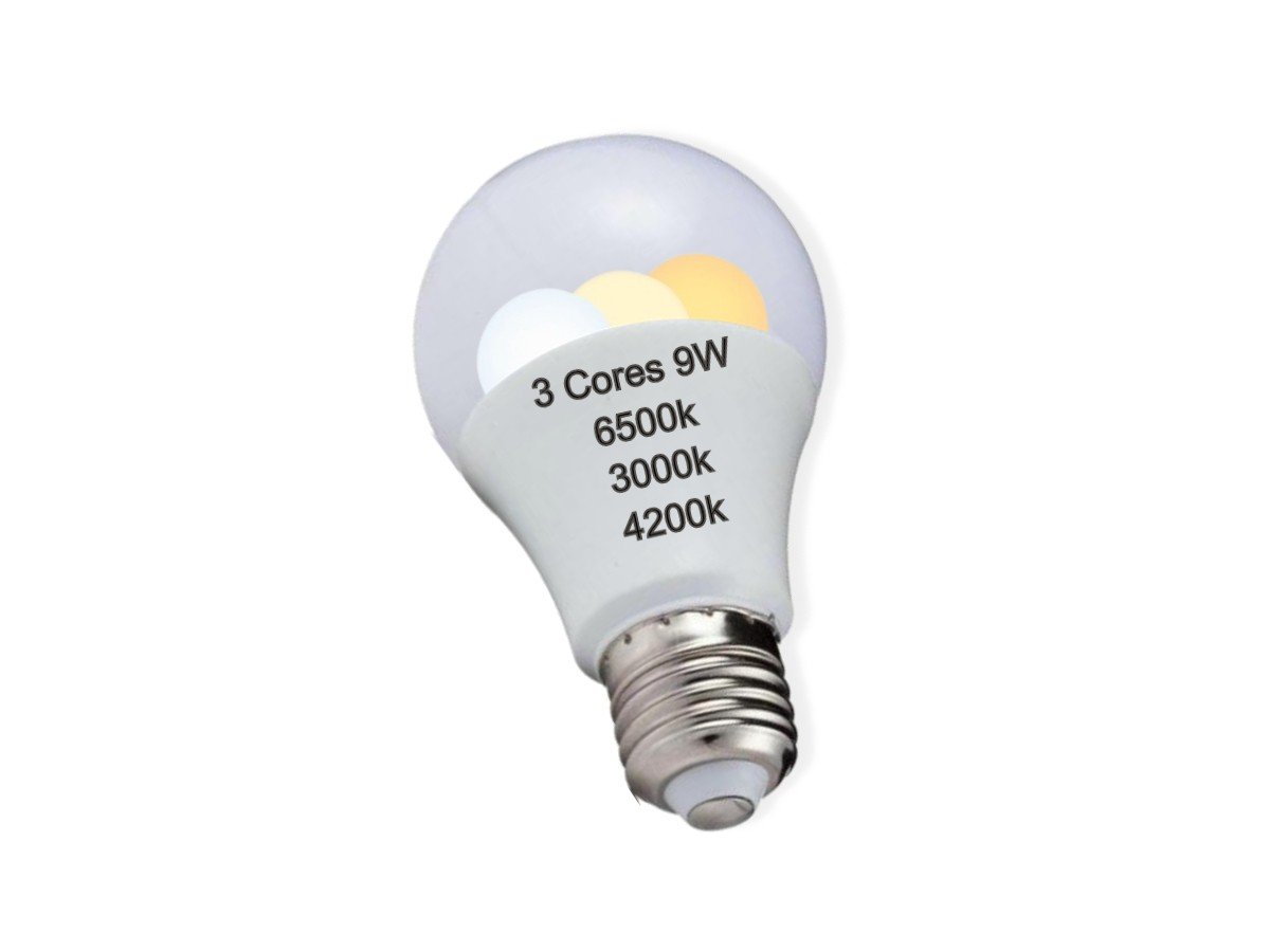 Foto3 - Kit 2un Lâmpada Led Inteligente 3 Cores em 1 Branca Amarela Neutro