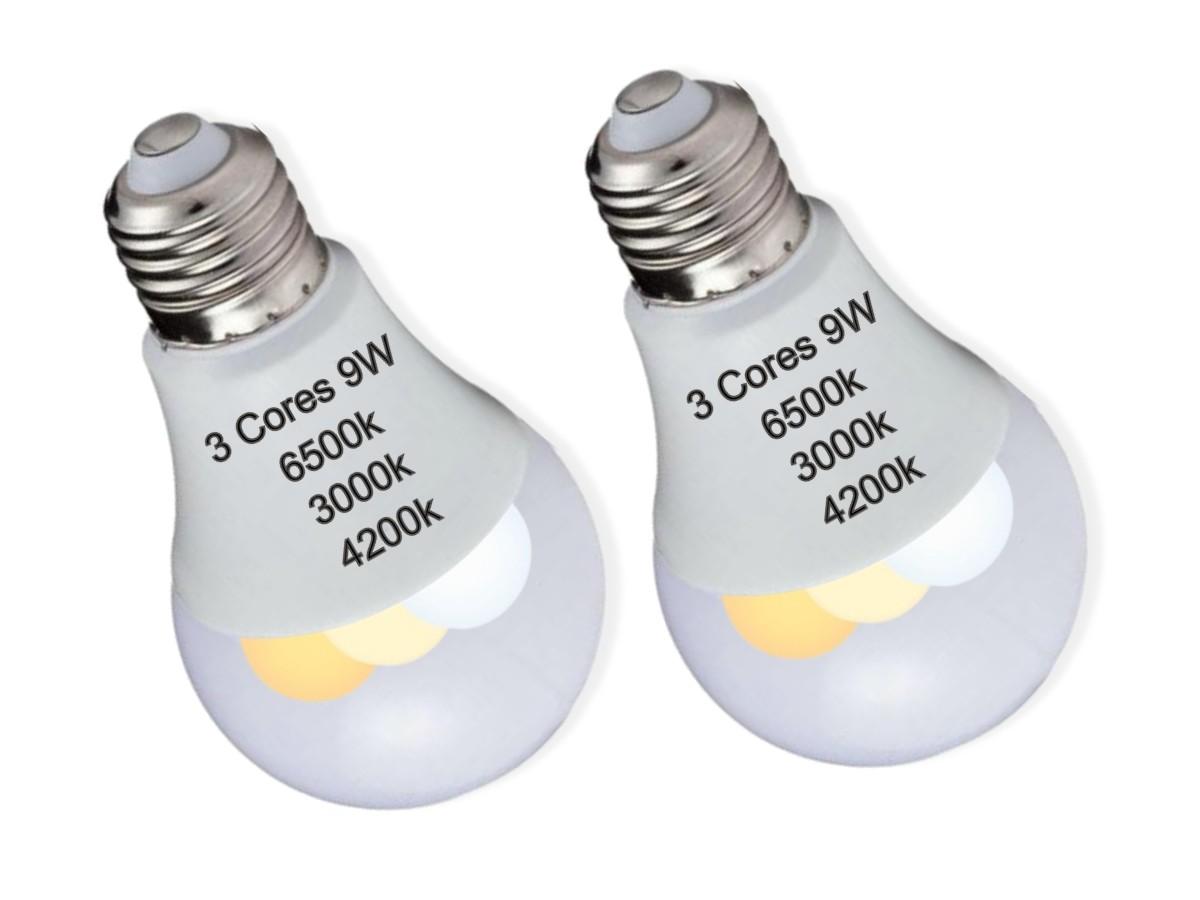 Foto 1 - Kit 2un Lâmpada Led Inteligente 3 Cores em 1 Branca Amarela Neutro