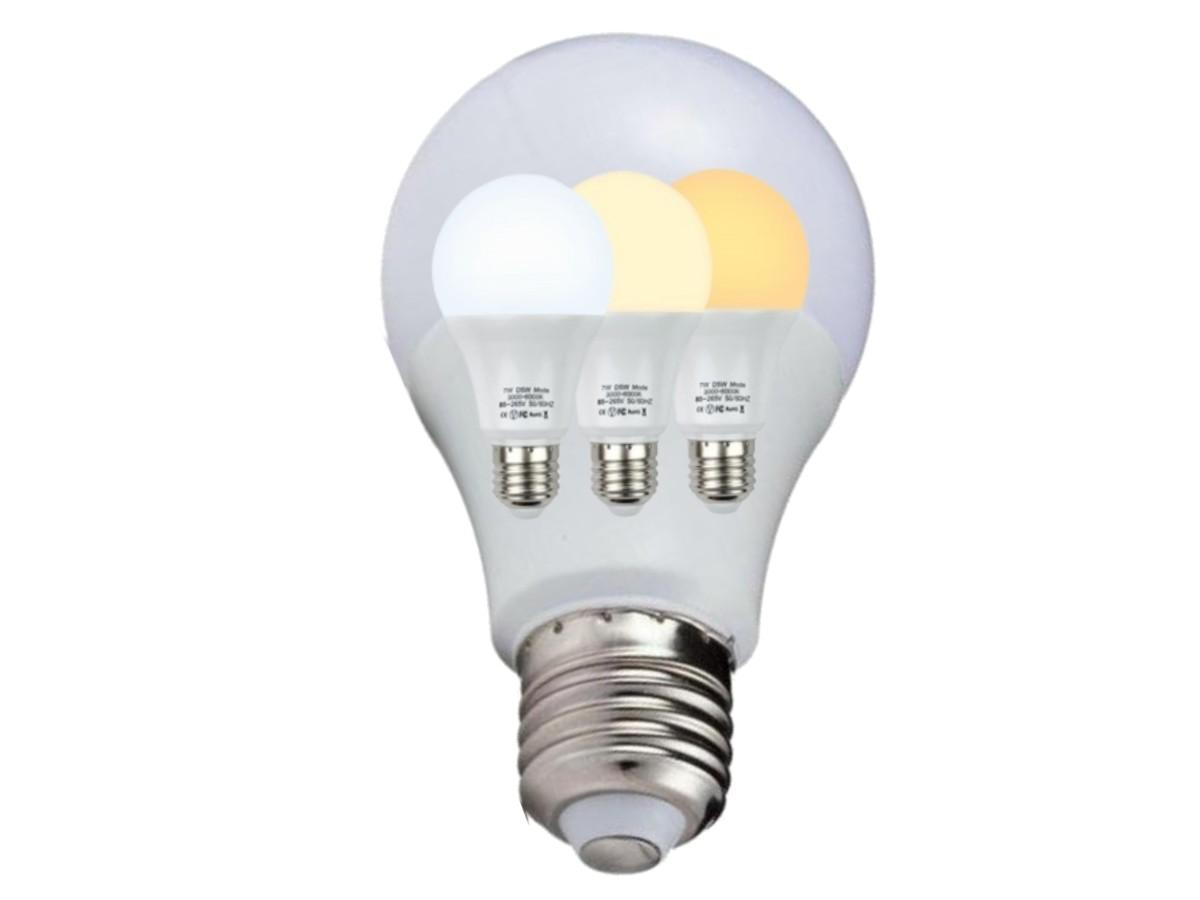 Foto5 - Kit 2un Lâmpada Led Inteligente 3 Cores em 1 Branca Amarela Neutro