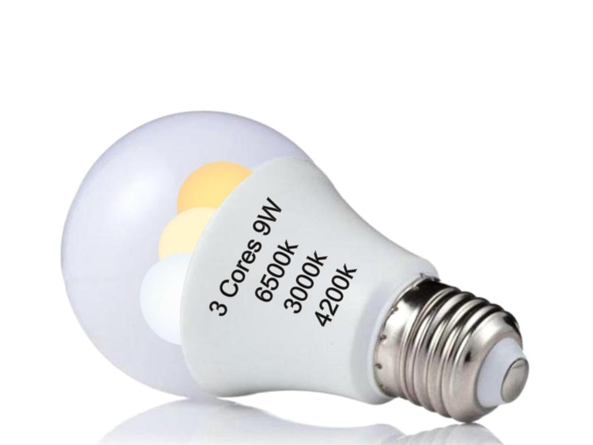 Foto2 - Kit 2un Lâmpada Led Inteligente 3 Cores em 1 Branca Amarela Neutro