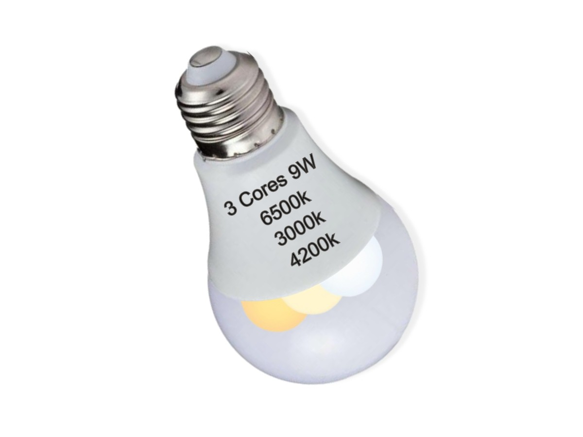 Foto4 - Kit 2un Lâmpada Led Inteligente 3 Cores em 1 Branca Amarela Neutro
