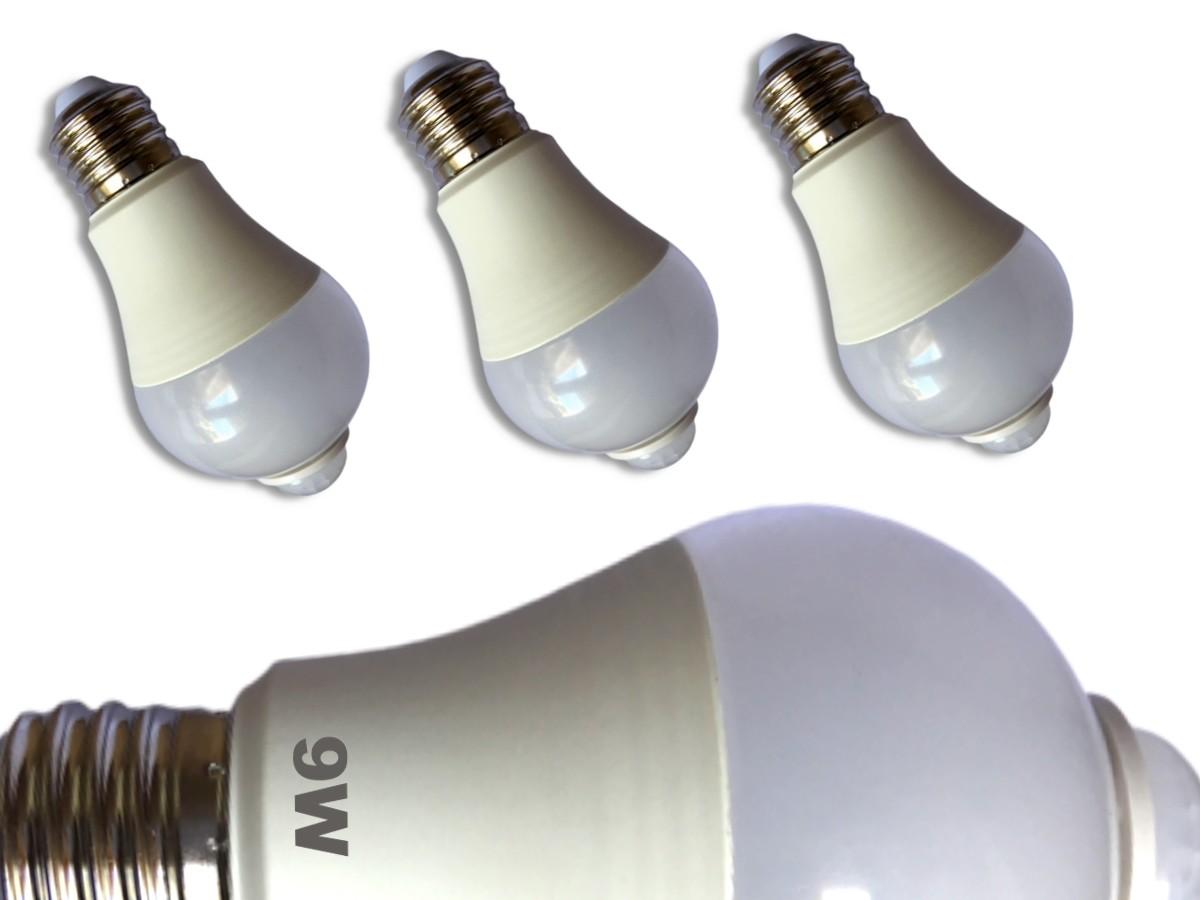 Foto 1 - Kit 3Un Lâmpada LED Inteligente com Sensor de Movimento 9W