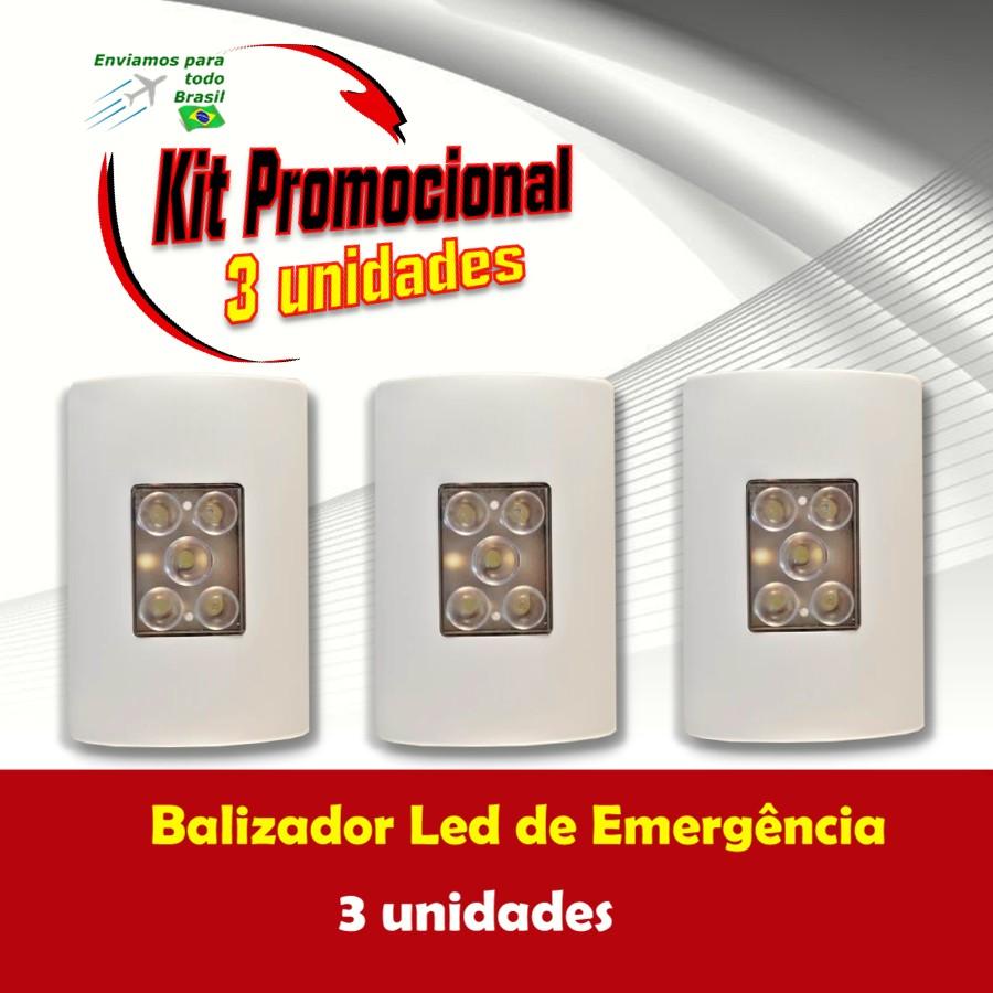 Foto 1 - Kit Balizador Led de Emergência 3 unidades