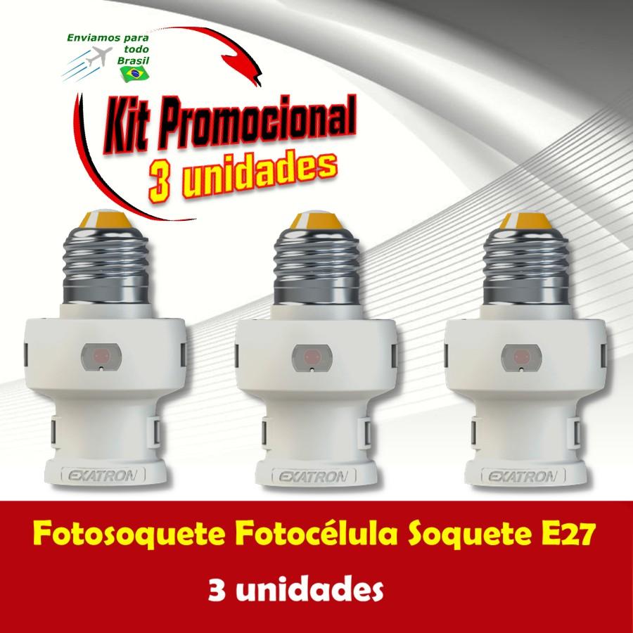 Foto 1 - Kit Fotosoquete Fotocélula Soquete 3 unidades
