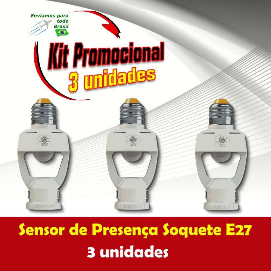 Foto 1 - Kit Sensor de Presença Soquete E27 3Un