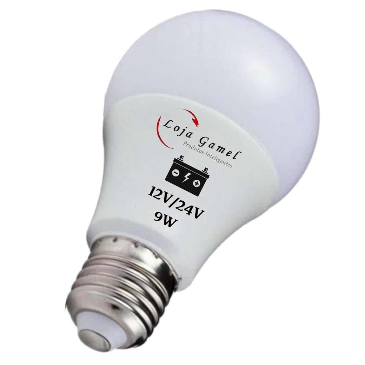 Foto4 - Lâmpada Led Bateria 12V / 24V - 9W 800 Lumens Kit 5Un