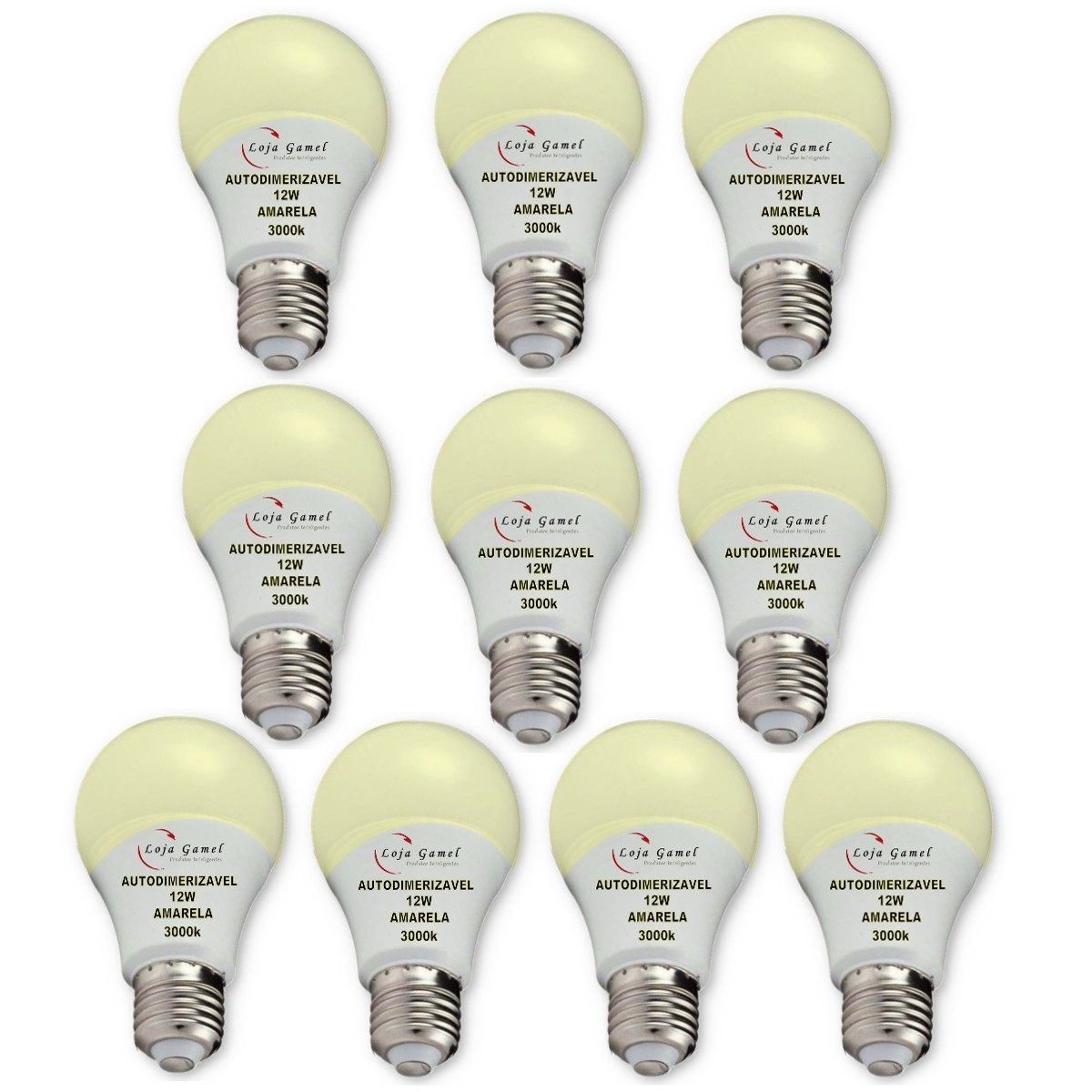 Foto 1 - Lâmpada LED Bulbo Autodimerizável 12W Luz Amarela 3000K 10un