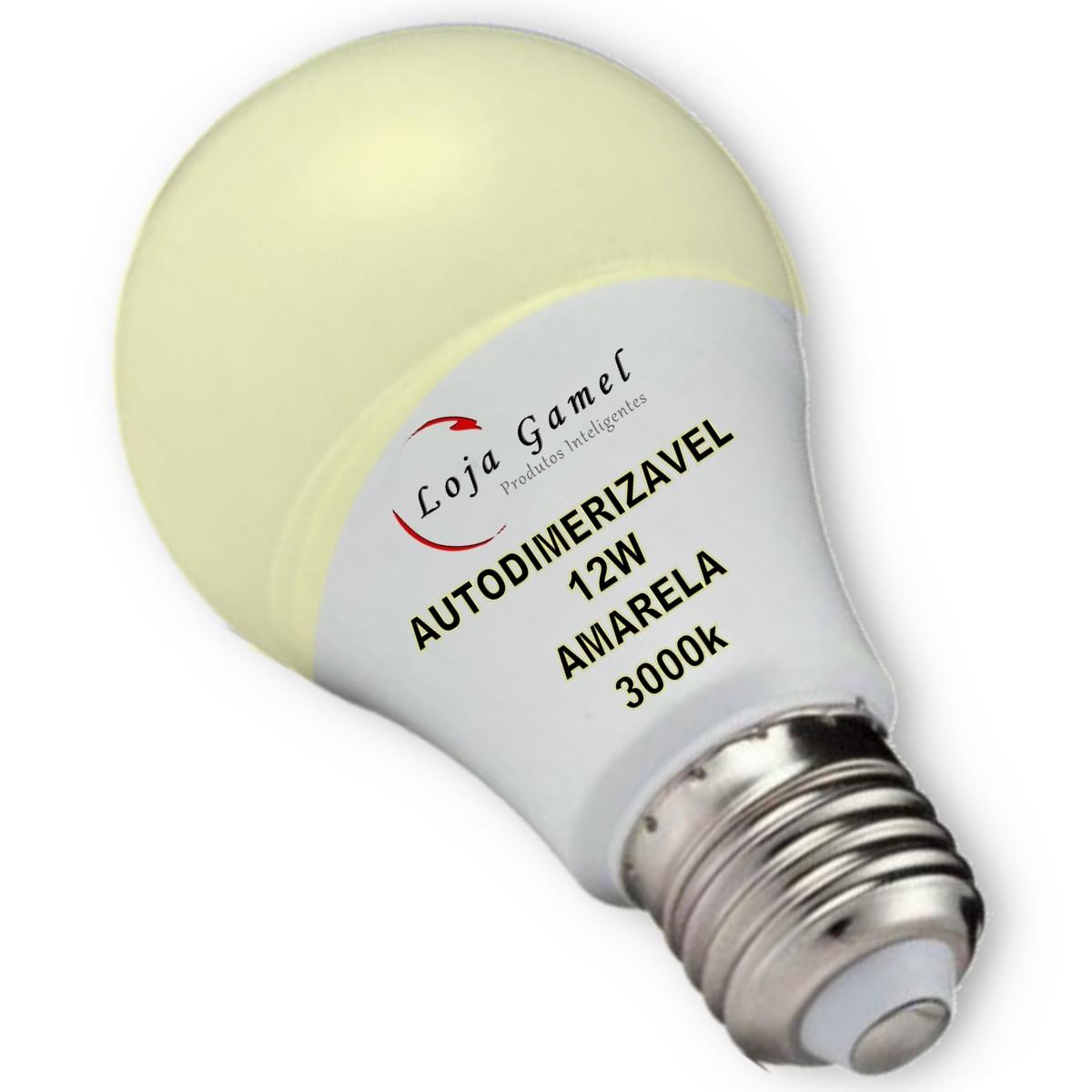 Foto5 - Lâmpada LED Bulbo Autodimerizável 12W Luz Amarela 3000K Kit 12un