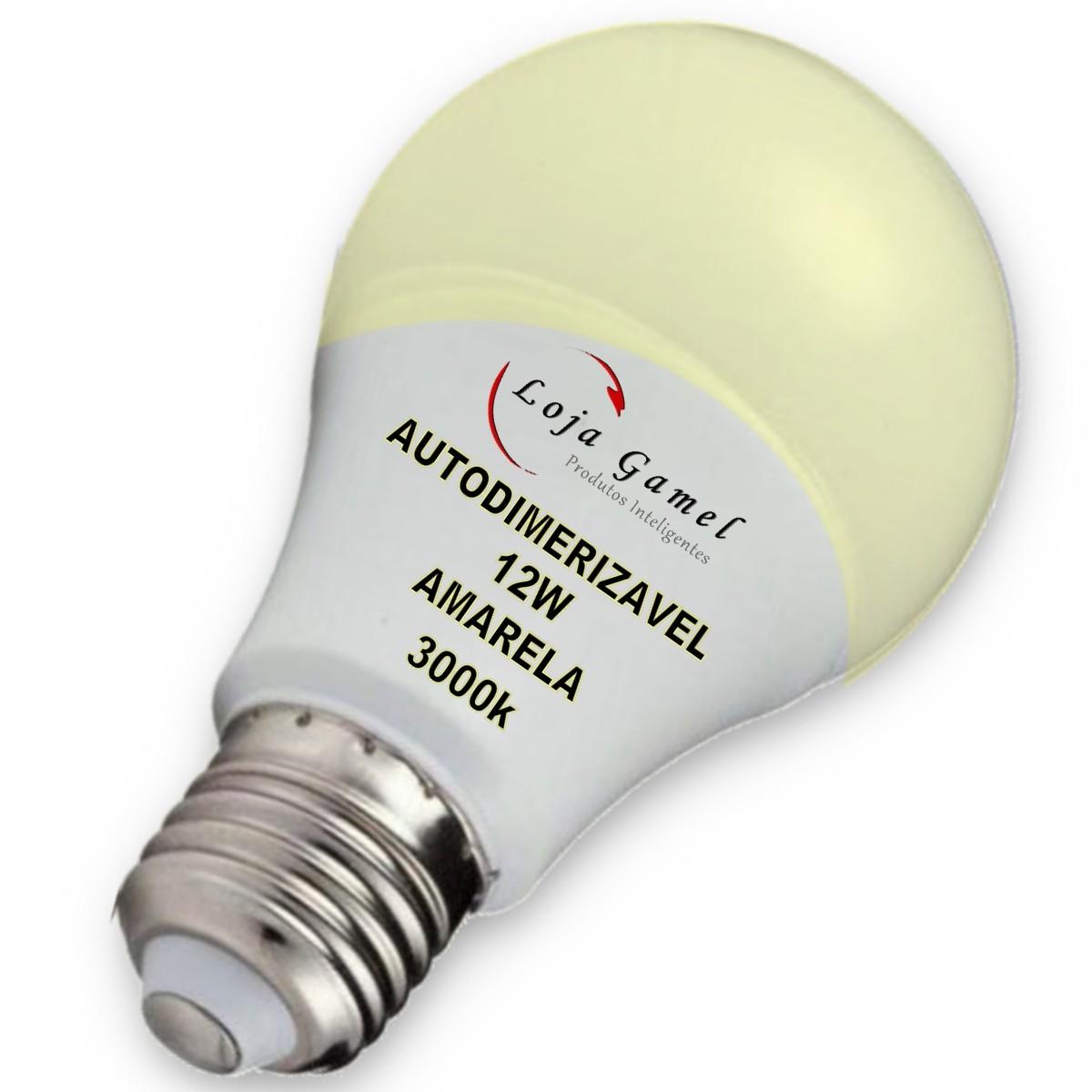 Foto4 - Lâmpada LED Bulbo Autodimerizável 12W Luz Amarela 3000K Kit 12un