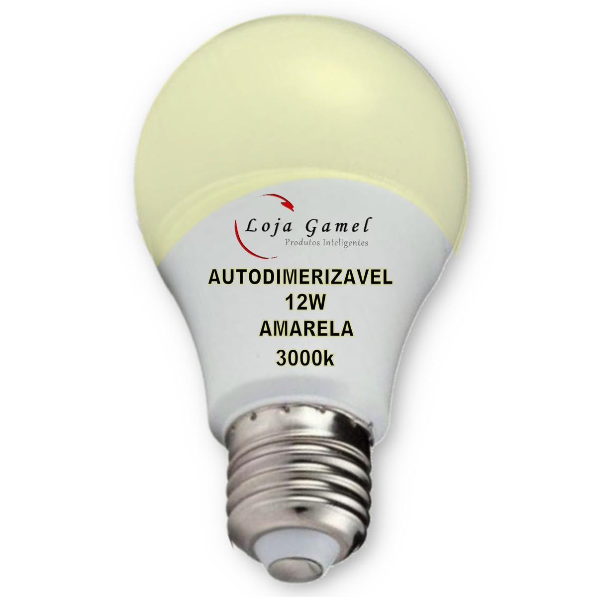 Foto6 - Lâmpada LED Bulbo Autodimerizável 12W Luz Amarela 3000K Kit 12un