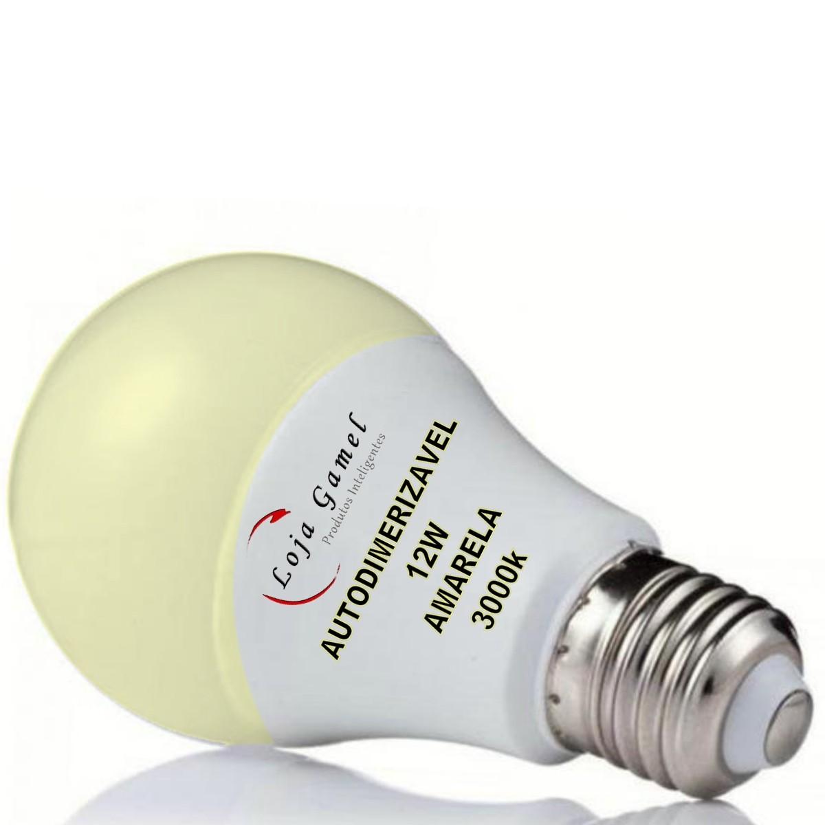 Foto2 - Lâmpada Led Bulbo Autodimerizável 12W Luz Amarela 3000K Kit 3un
