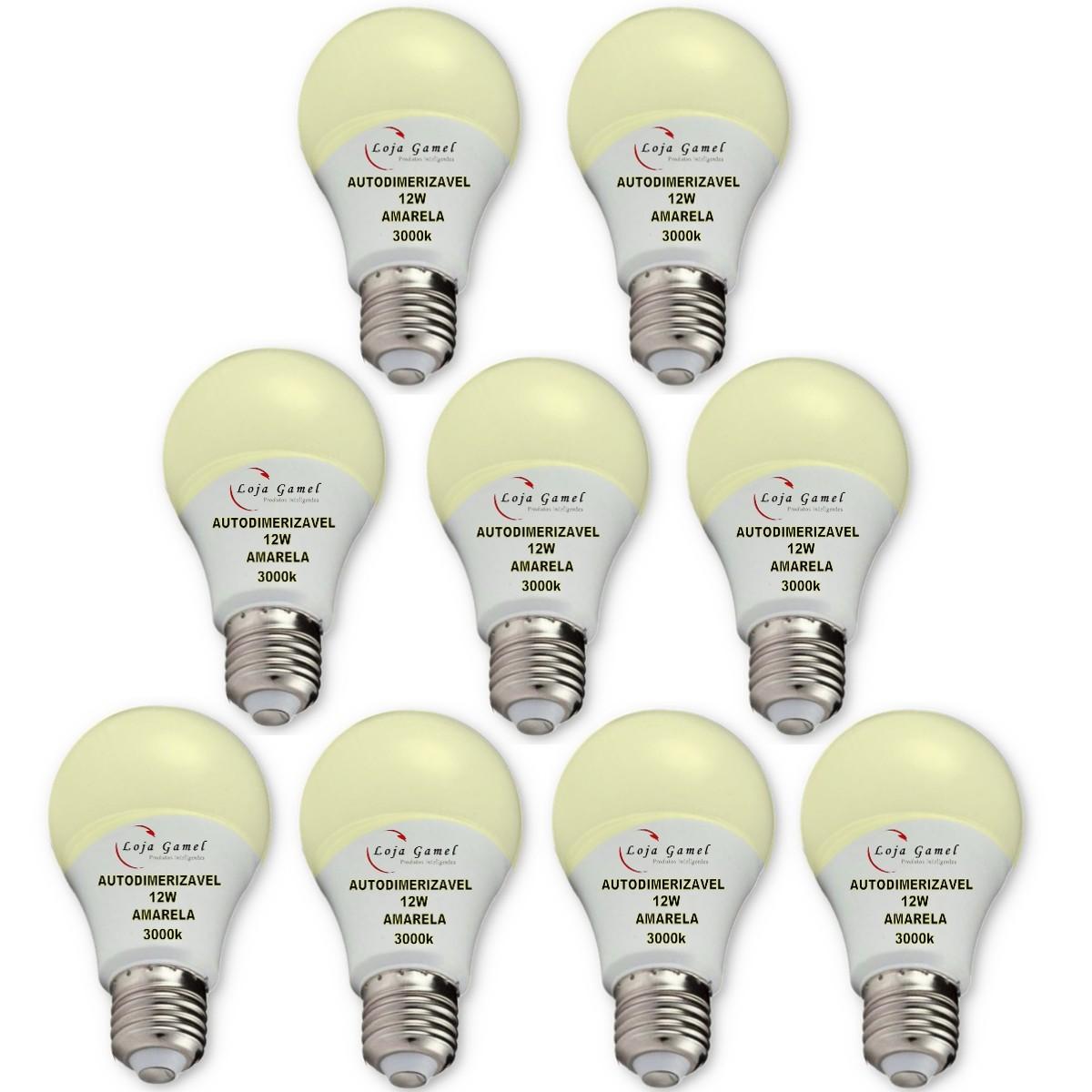 Foto 1 - Lâmpada LED Bulbo Autodimerizável 12W Luz Amarela 3000K Kit 9un