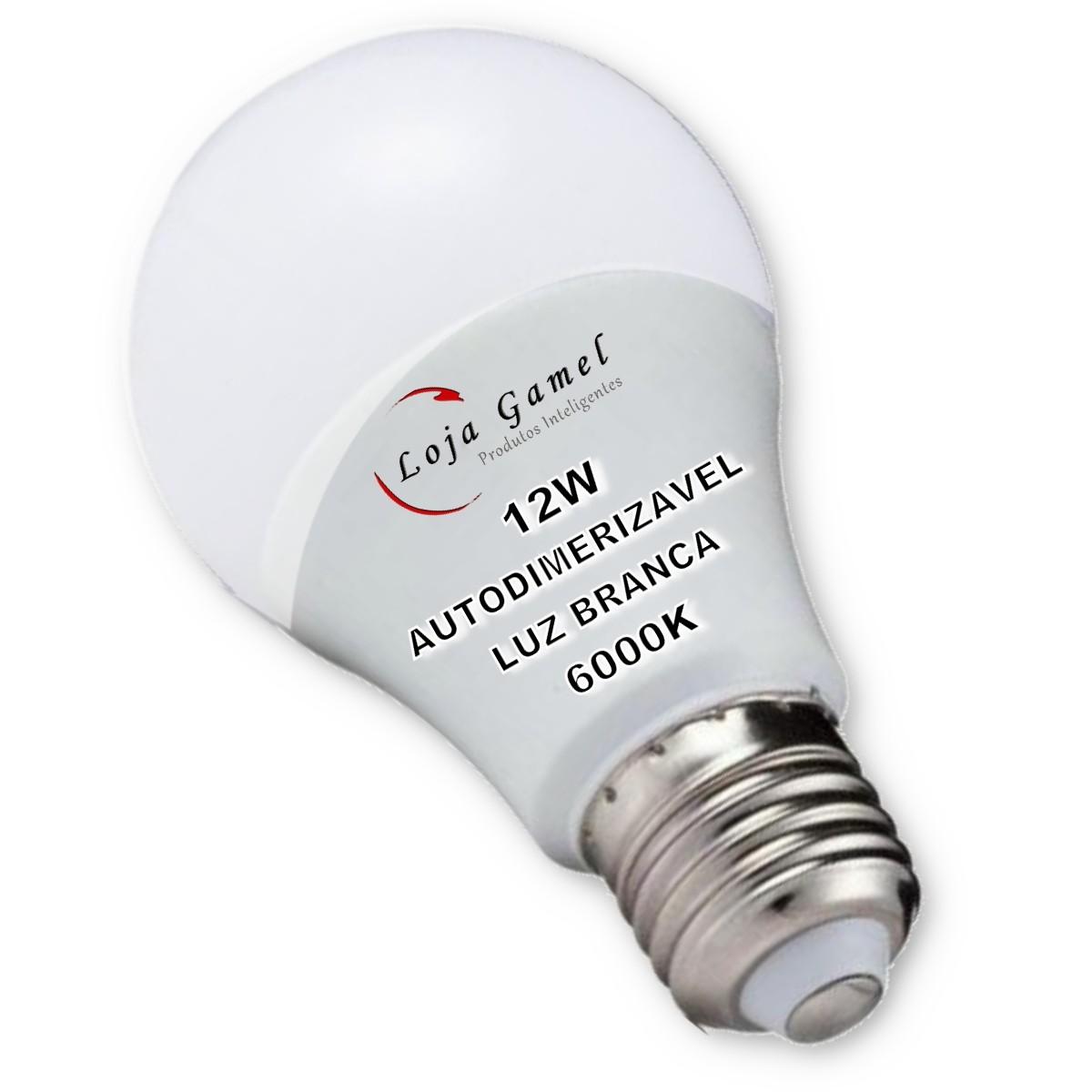 Foto4 - Lâmpada LED Bulbo Autodimerizável 12W Luz Branca 6000K Kit 12
