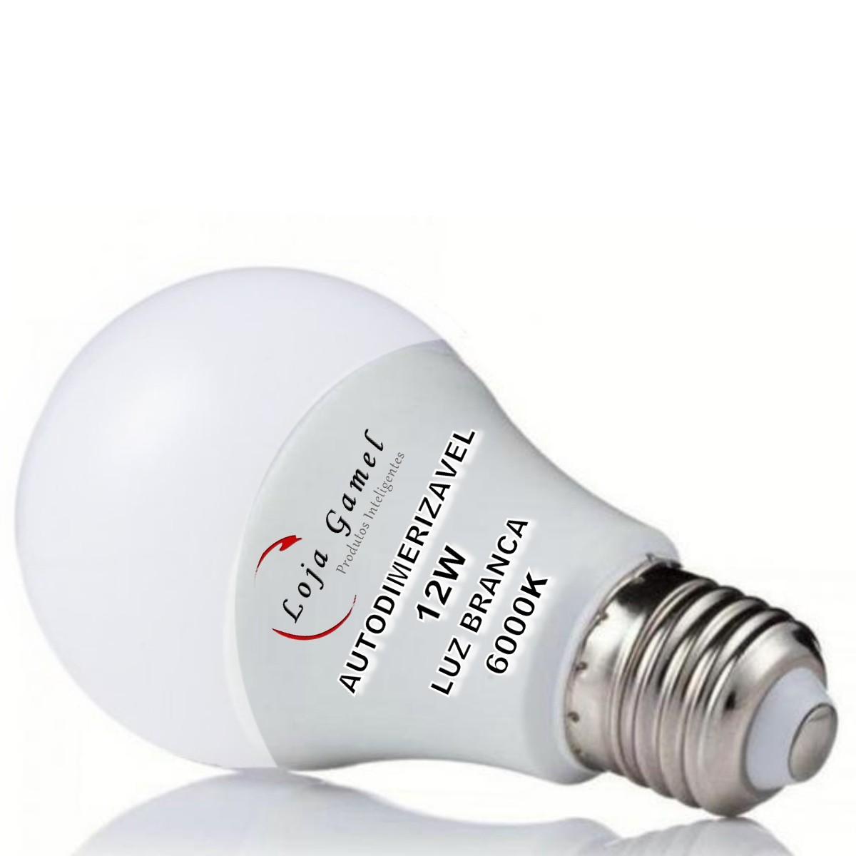 Foto2 - Lâmpada LED Bulbo Autodimerizável 12W Luz Branca 6000K Kit 12
