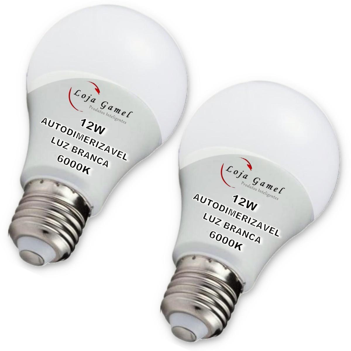 Foto 1 - Lâmpada LED Bulbo Autodimerizável 12W Luz Branca 6000K Kit 2un