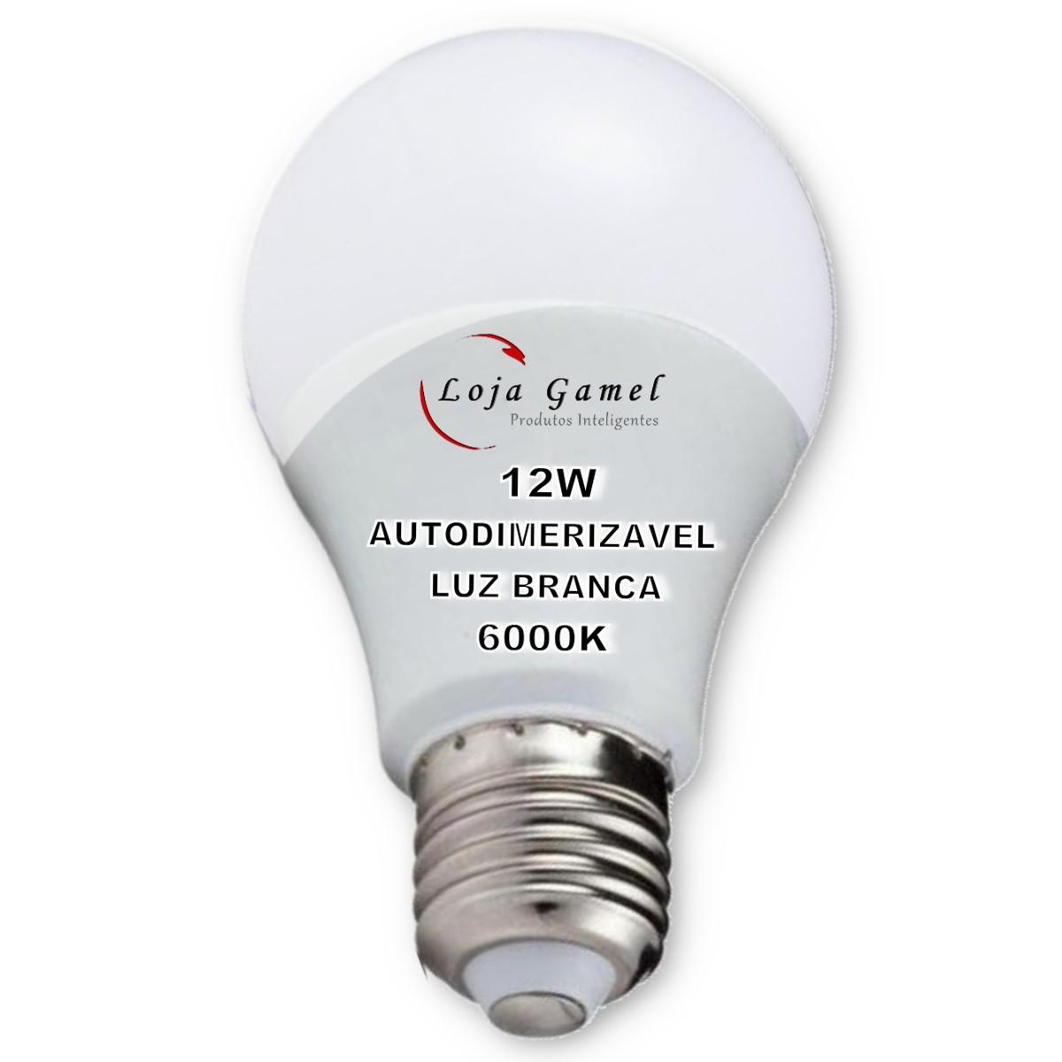 Foto5 - Lâmpada LED Bulbo Autodimerizável 12W Luz Branca 6000K Kit 5un