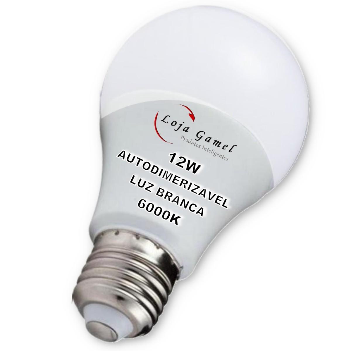 Foto4 - Lâmpada LED Bulbo Autodimerizável 12W Luz Branca 6000K Kit 6un