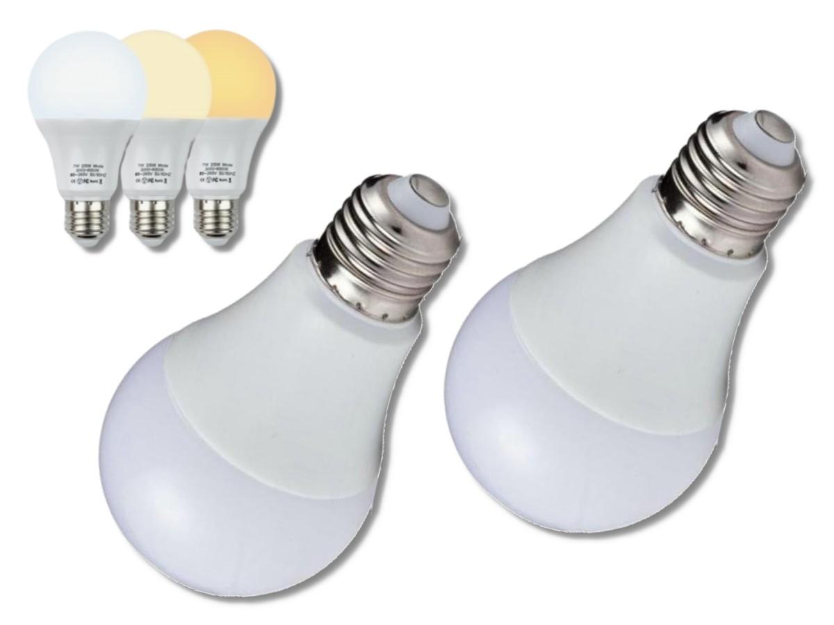 Foto 1 - Lâmpada Led Inteligente 3 Cores em 1 Lâmpada Branca Amarela Neutro Kit 2Un