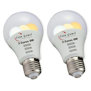 Foto1 - Lâmpada Led Bulbo 9w 3 Cores Kit 2Un
