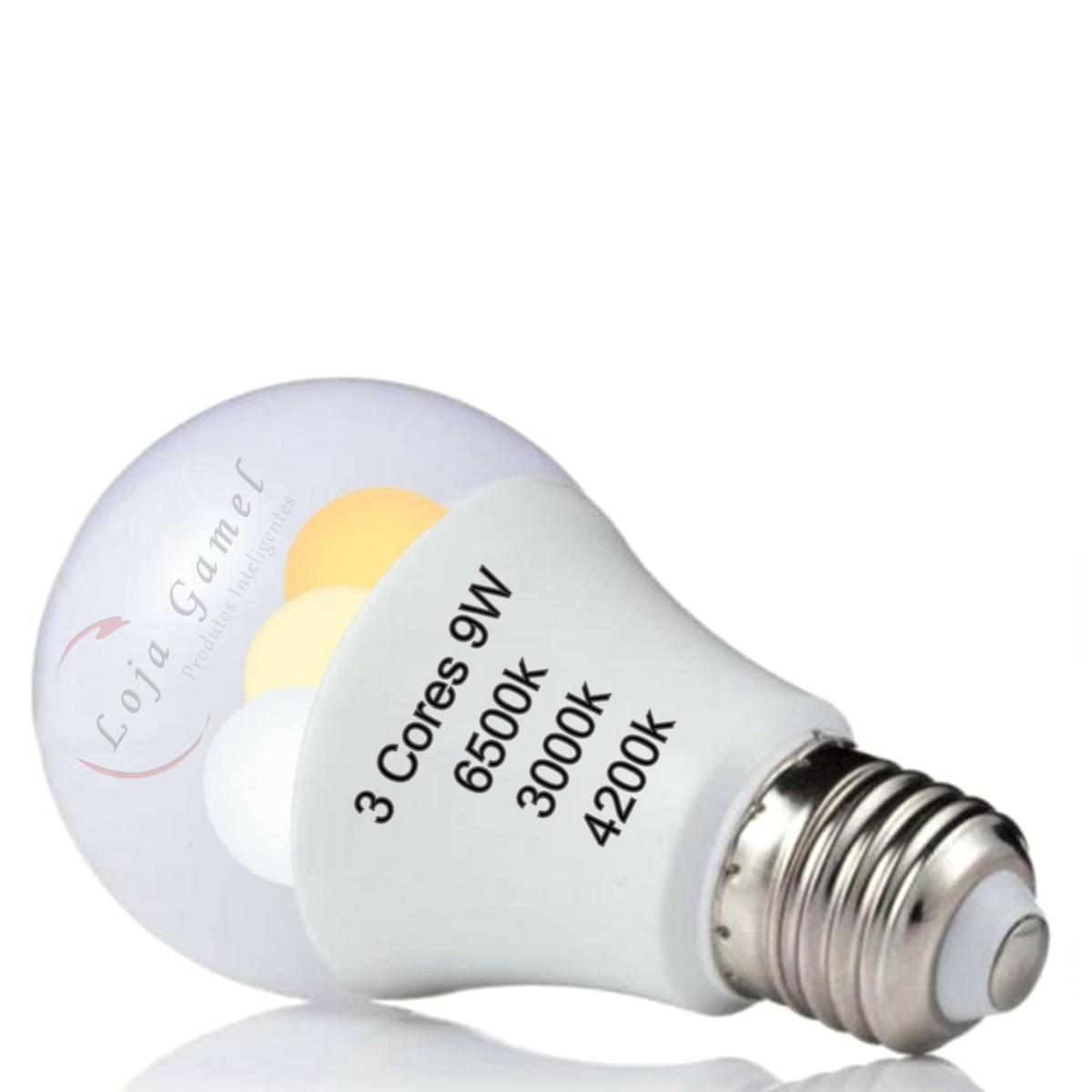Foto5 - Lâmpada Led Inteligente Bulbo 3 Cores Kit 4Un