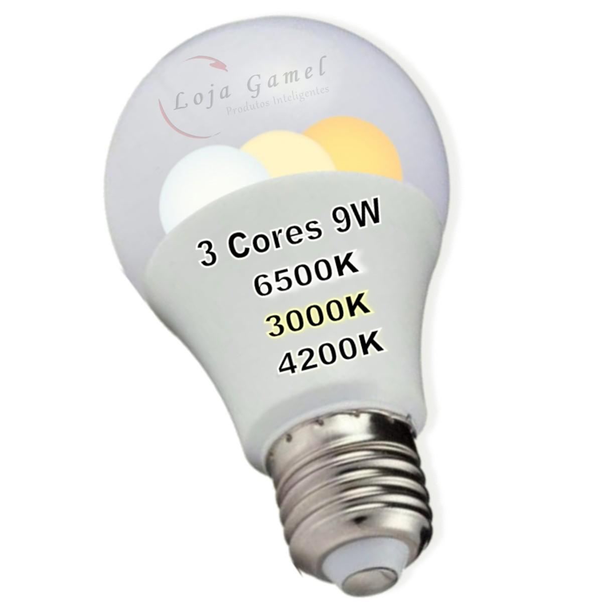Foto7 - Lâmpada Led Inteligente Bulbo 3 Cores Kit 4Un
