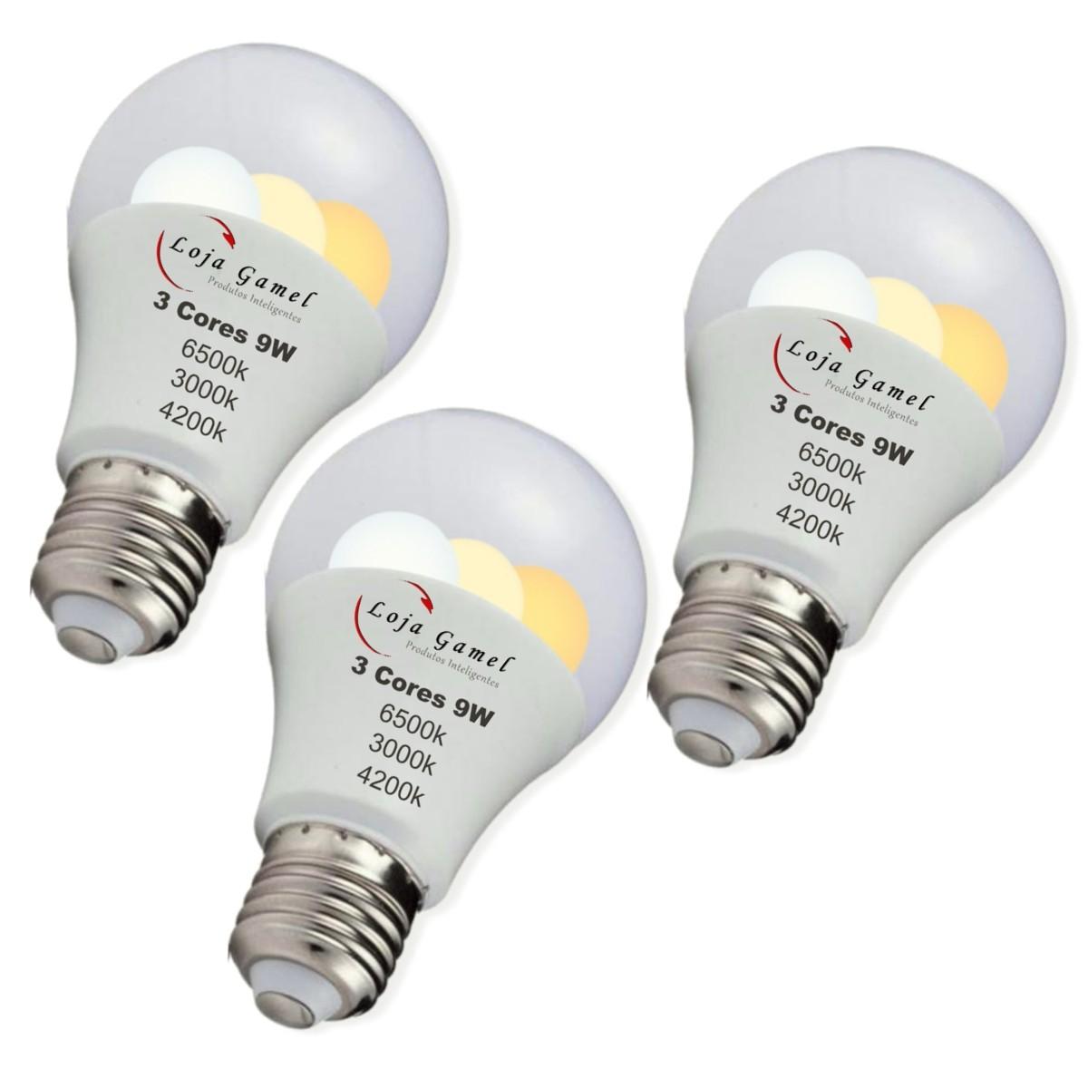 Foto 1 - Lâmpada Led Inteligente Bulbo 3 Cores Kit 3Un