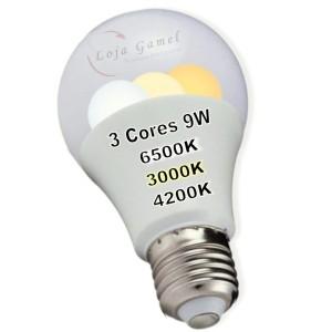 Foto6 - Lâmpada Led Bulbo 9w 3 Cores Kit 8Un