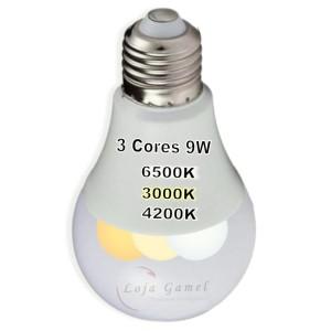 Foto7 - Lâmpada Led Bulbo 9w 3 Cores Kit 8Un