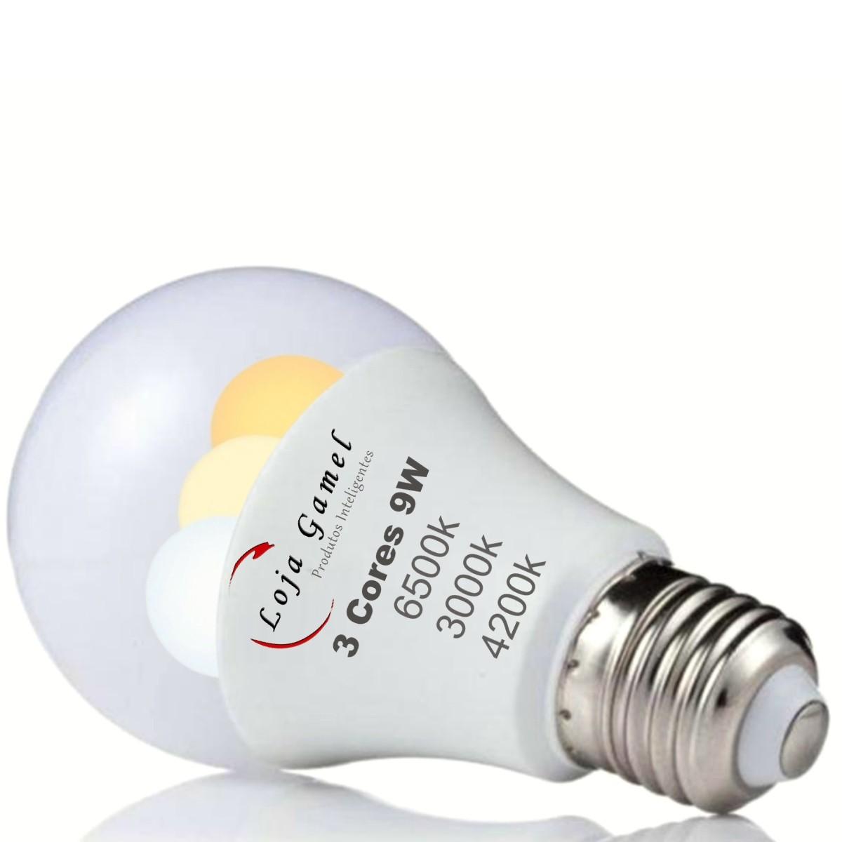 Foto 1 - Lâmpada Led Inteligente Bulbo 3 cores