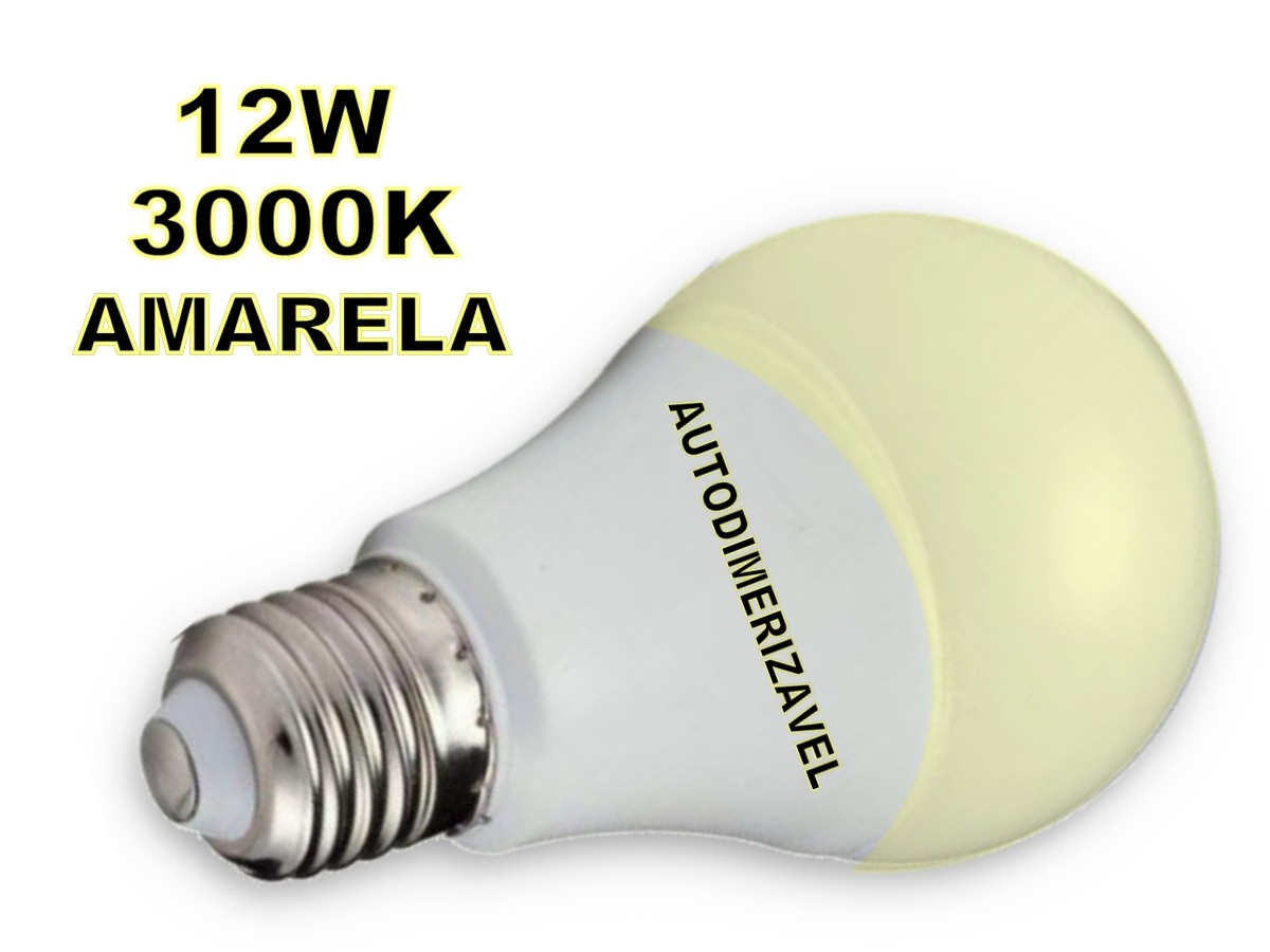 Foto4 - Lâmpada Led Inteligente Bulbo Autodimerizável 12W Amarela