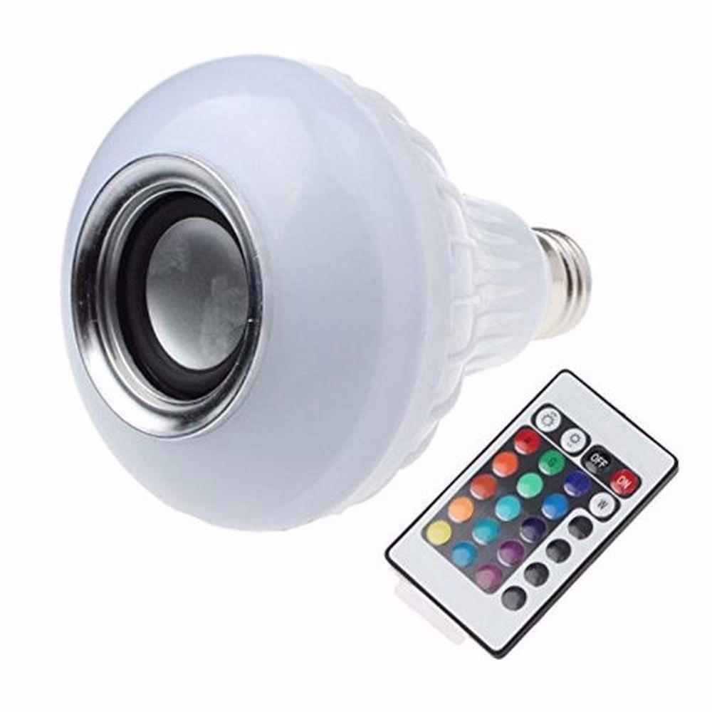 Foto6 - Lâmpada LED Toca Música Bluetooth RGB Muda de Cor Controle Remoto