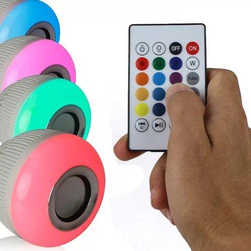 Foto4 - Lâmpada LED Toca Música Bluetooth RGB Muda de Cor Controle Remoto