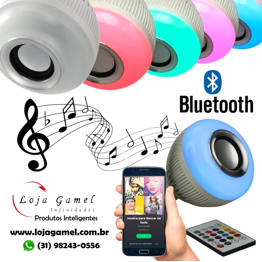 Foto 1 - Lâmpada LED Toca Música Bluetooth RGB Muda de Cor Controle Remoto