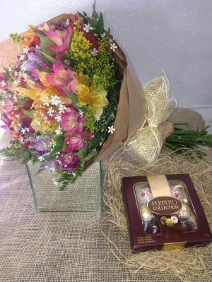 Foto1 - Buquê Arco-iris com Ferrero
